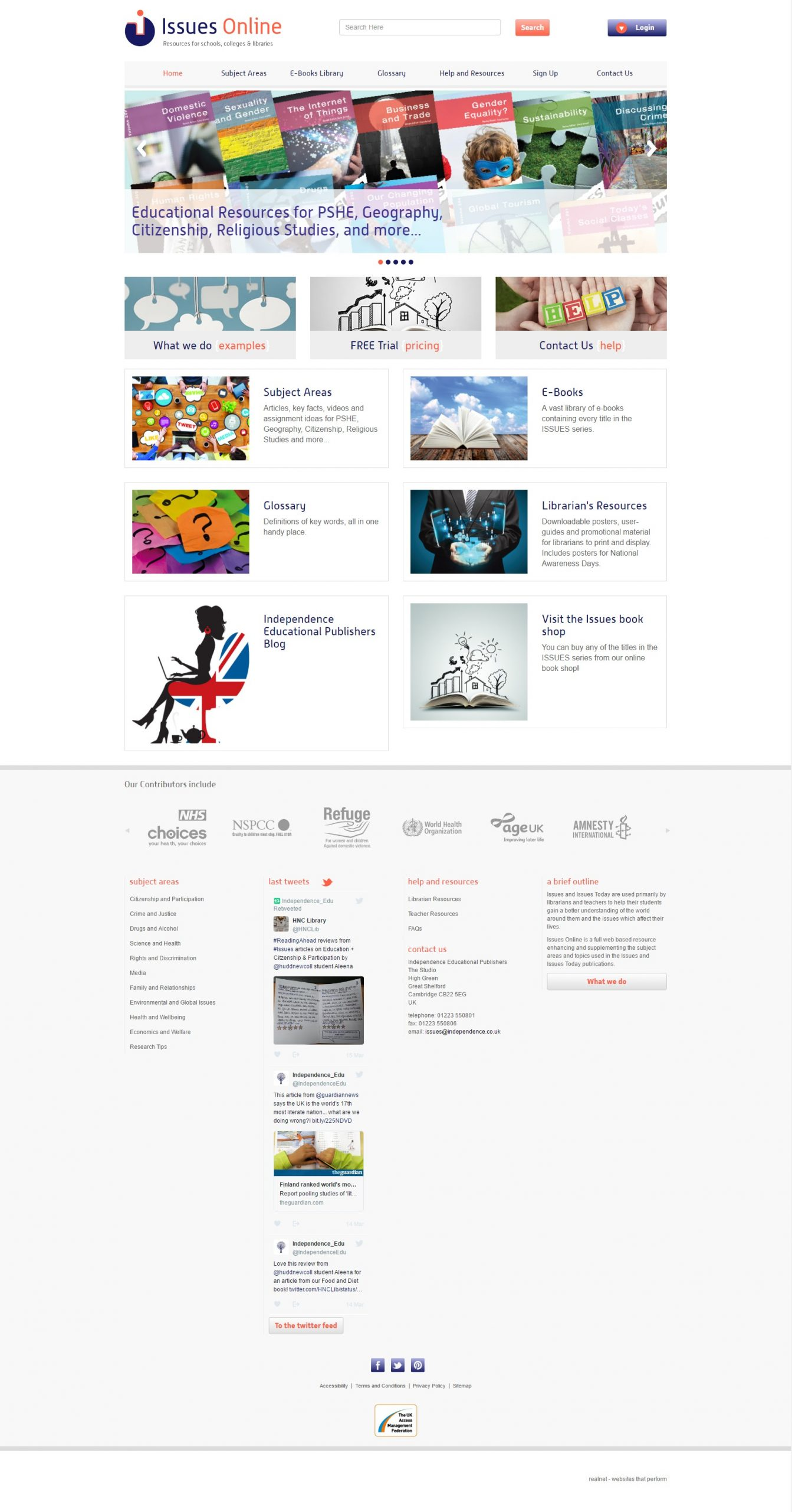 Issues Online website home page design