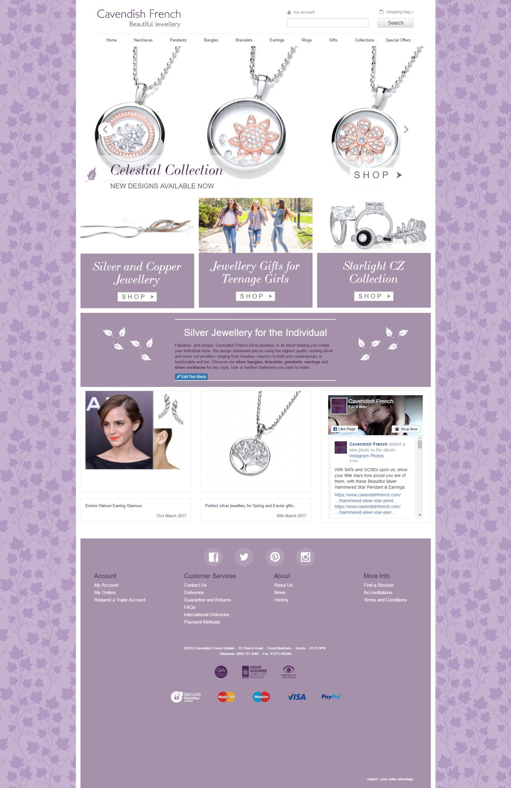 Cavendish French website home page design