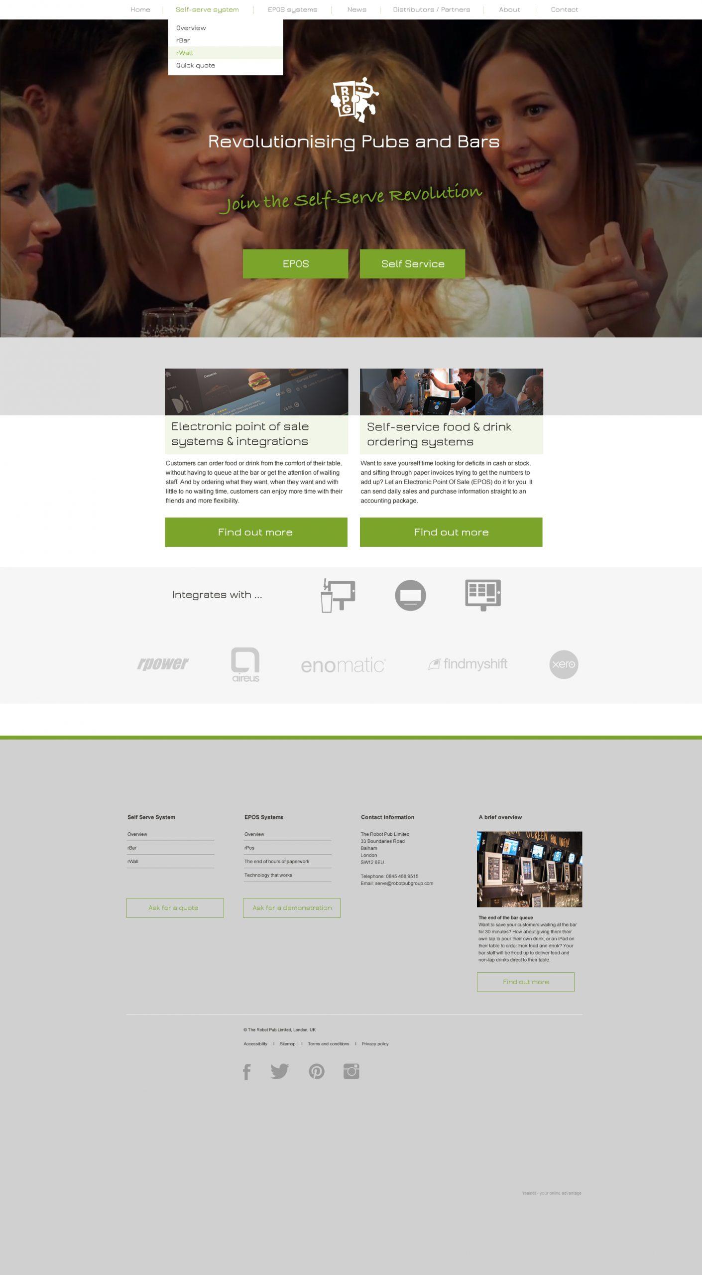 Robot Pub Group Website Home Page Design