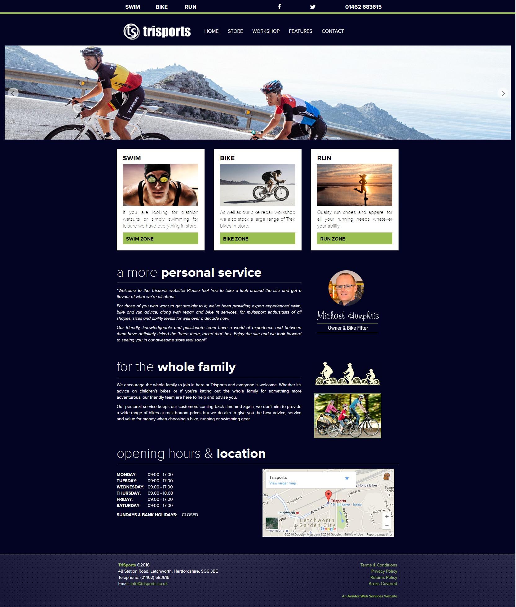 TriSports Letchworth - website first design rendering