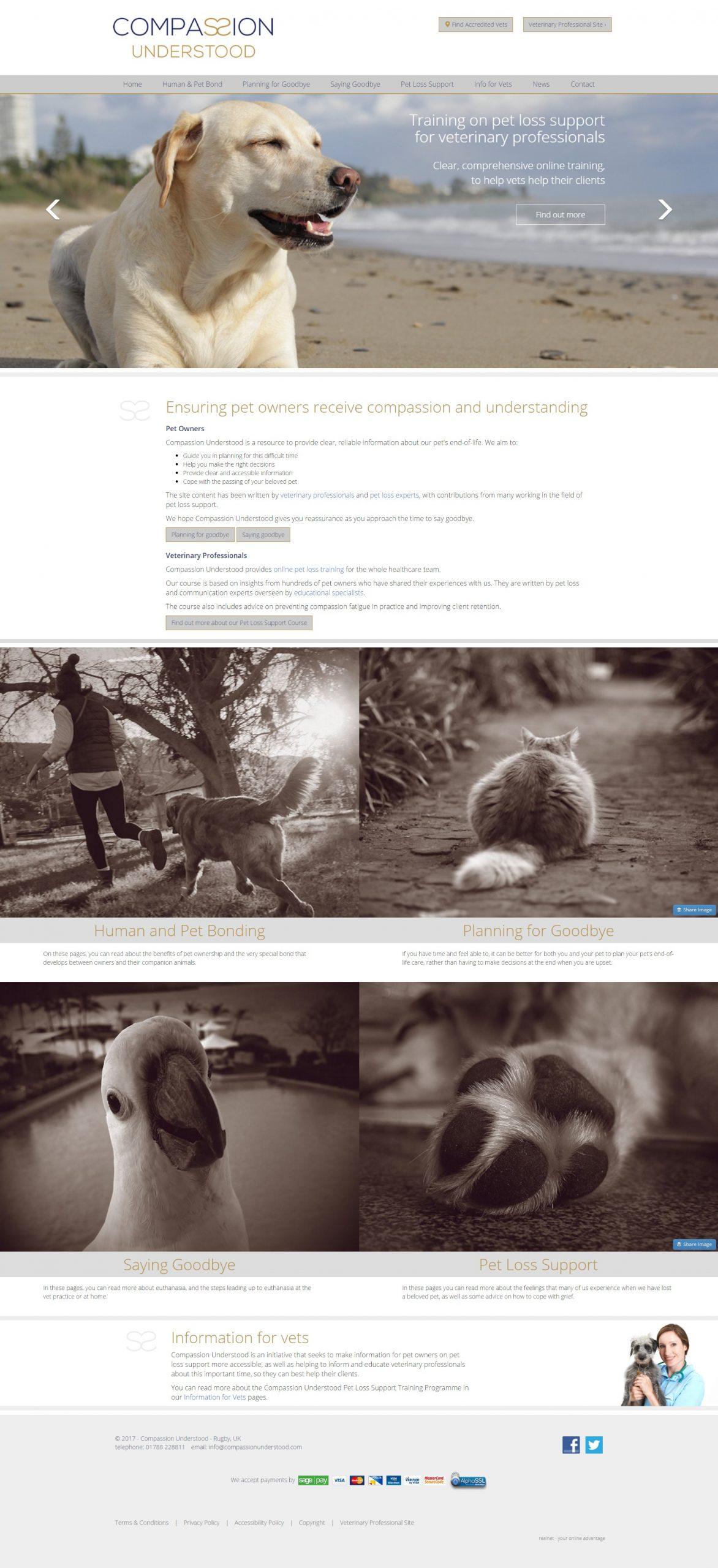 Compassion Understood website home page design