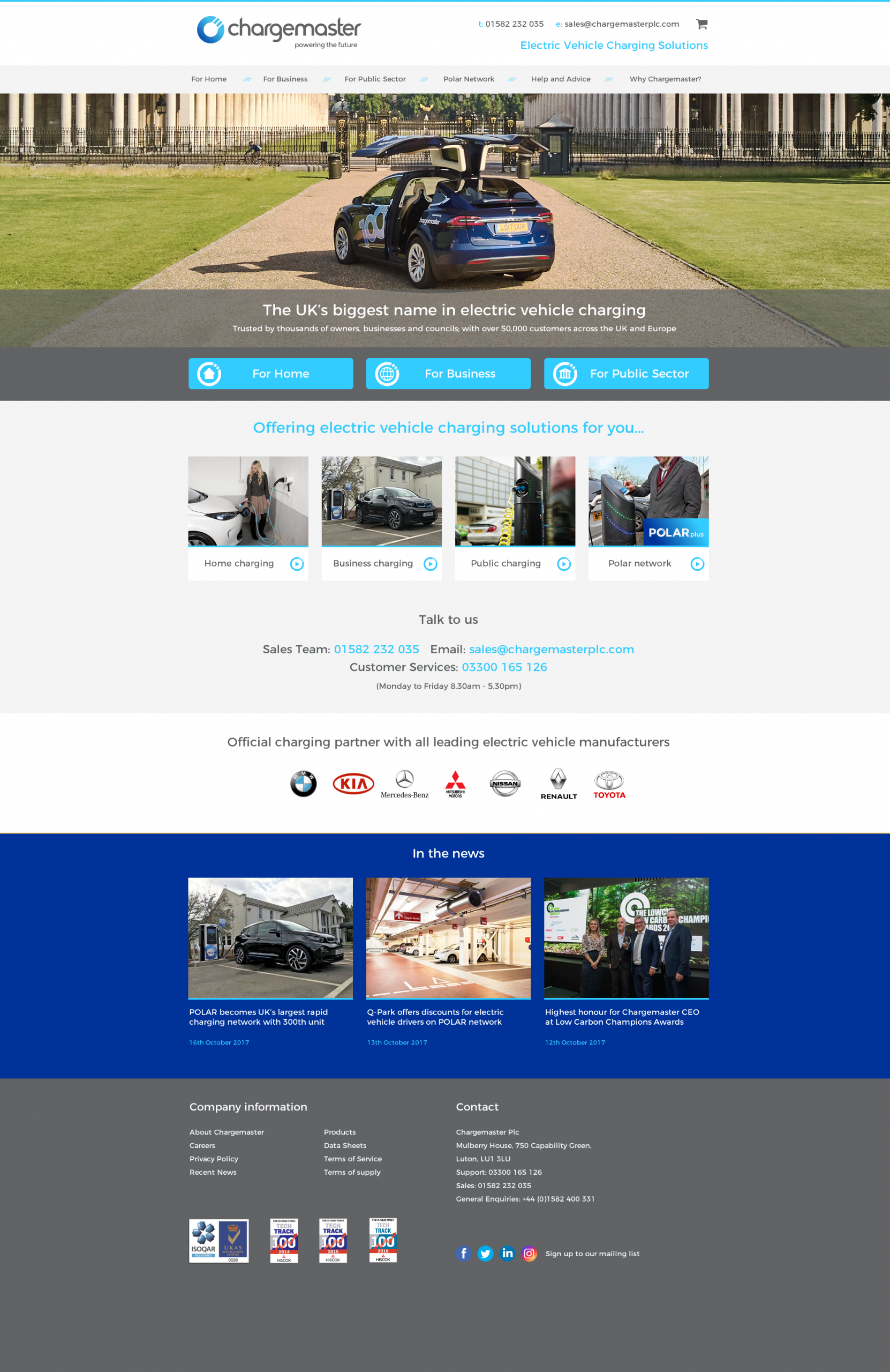 Chargemaster PLC Website Design - Home Page