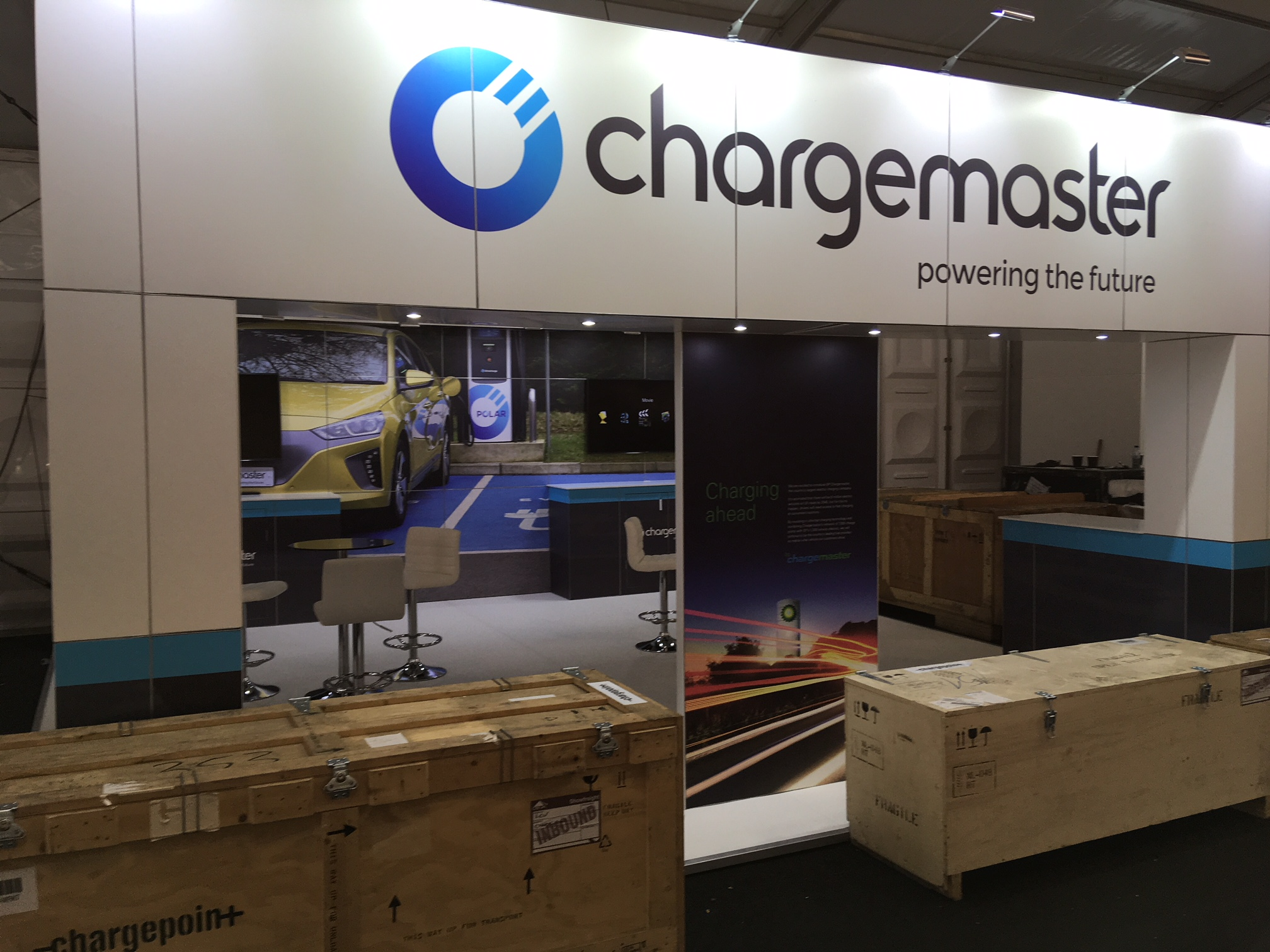 Chargemaster Exhibition Stand setting up