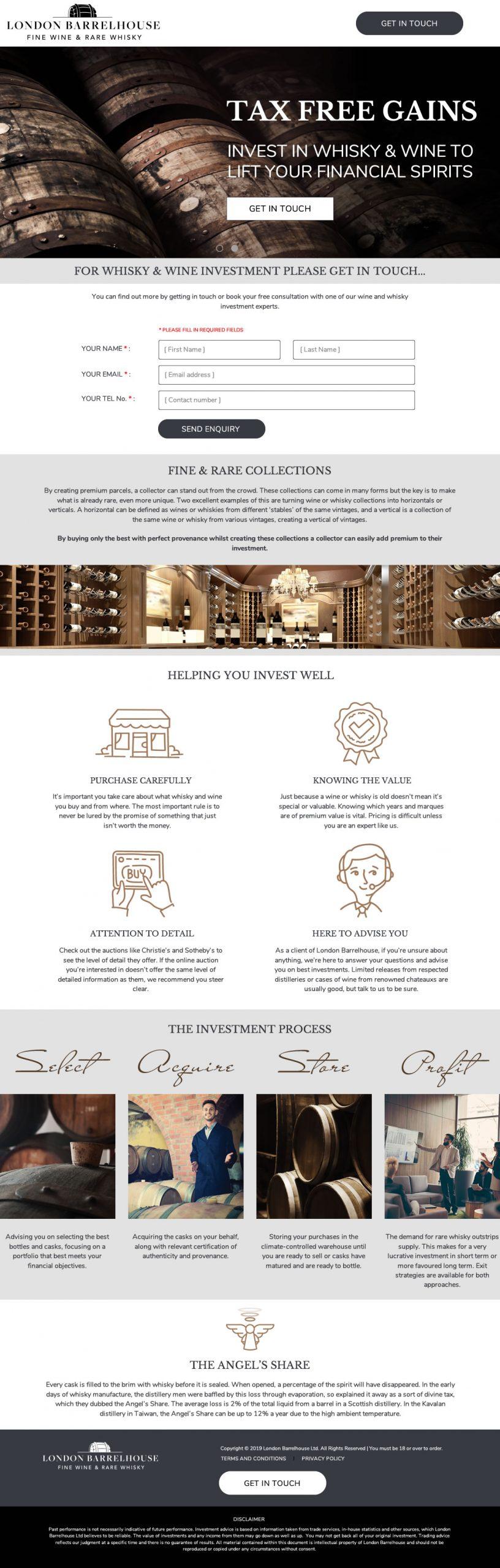 London Barrel House website home page design