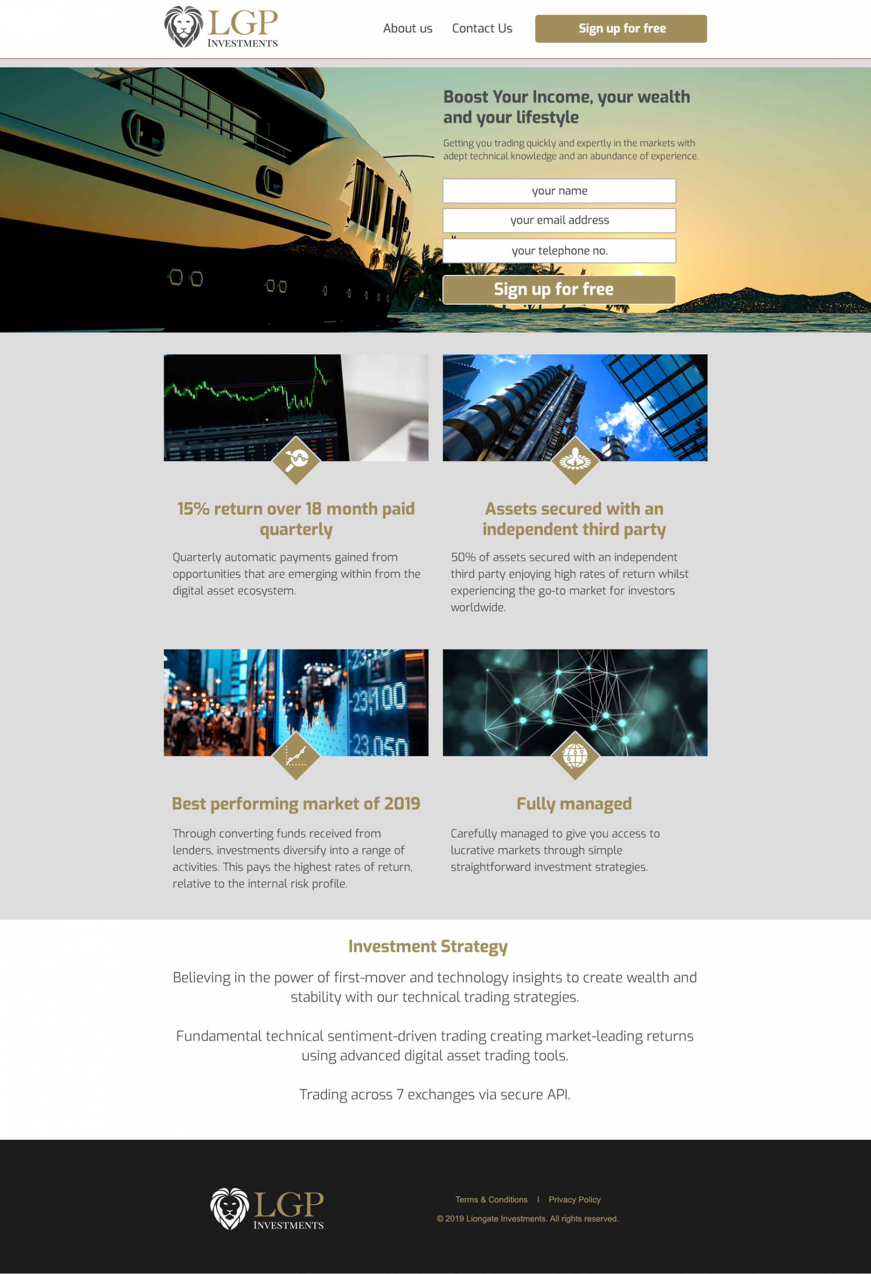 Liongate Investment website home page design