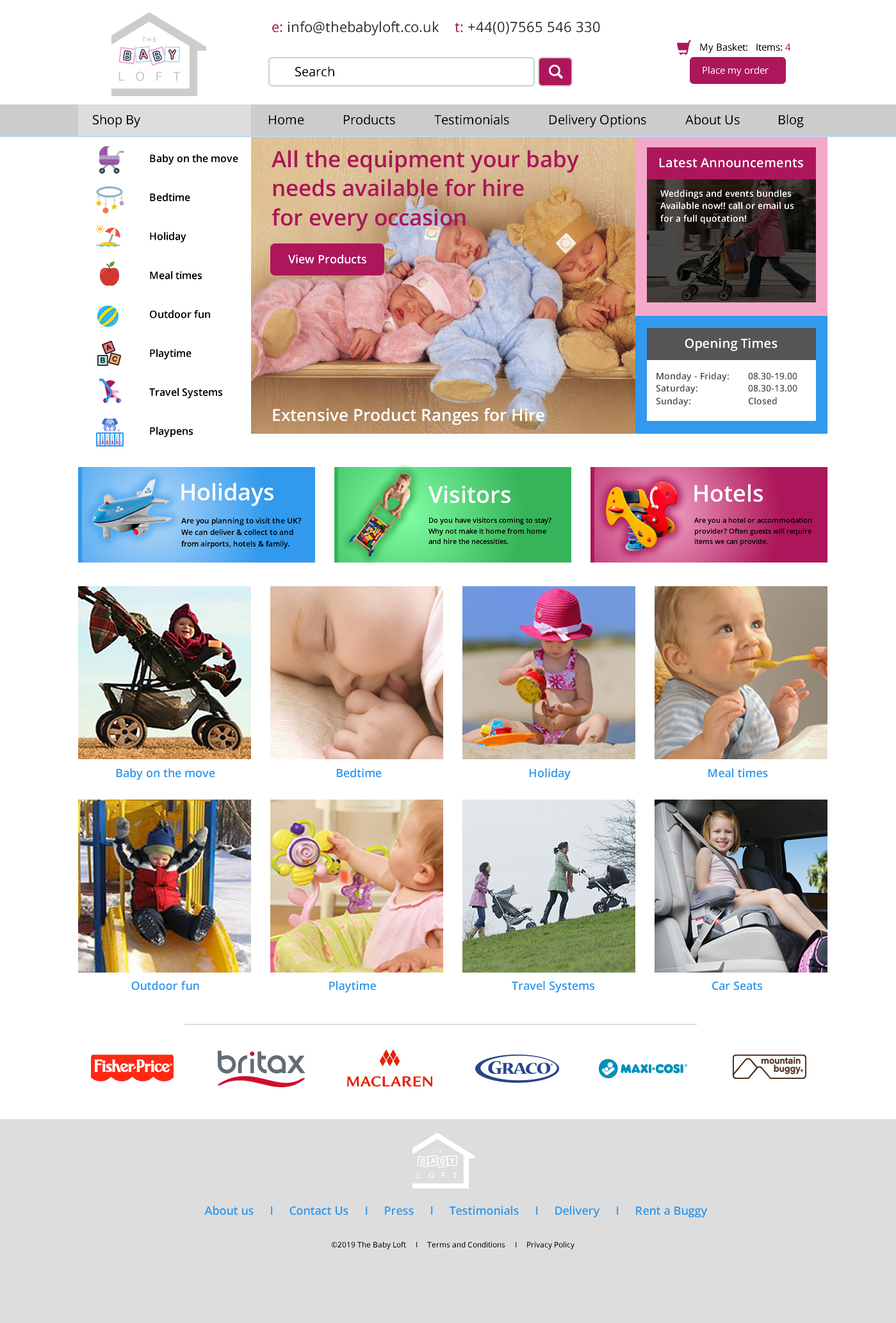 The Baby Loft website home page design