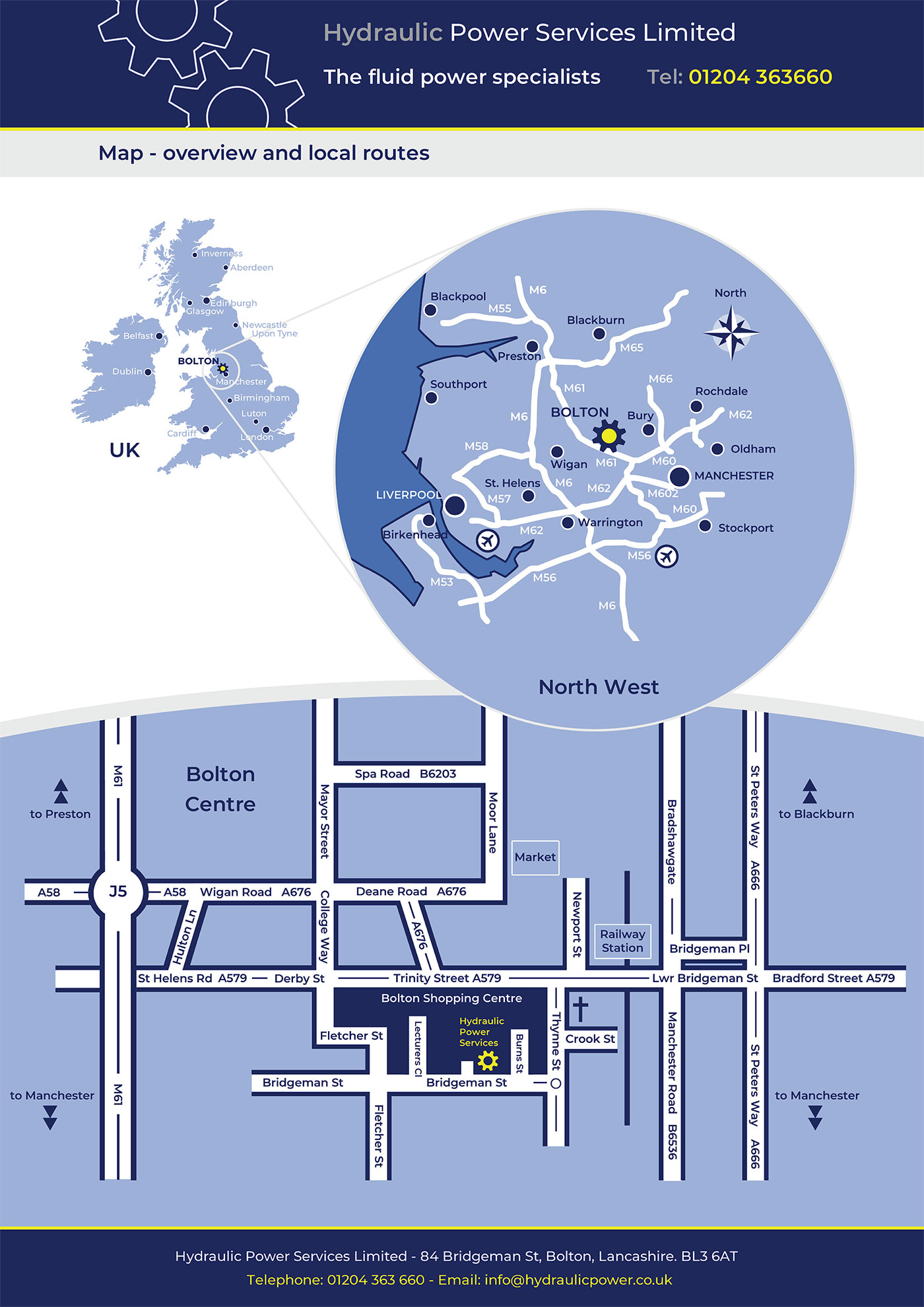 Hydraulic Power Services - Location Map